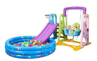 Free delivery 3-in-1 slide swing play ground