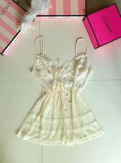 Victoria's Secret 100% Silk Chiffon and Mesh Babydoll