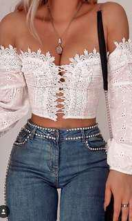 Lace off the shoulder top white