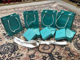 Tiffany and Co. paper bags, pouches, paper boxes and ribbons!