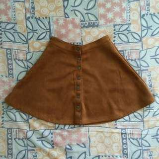 Brown button down skirt