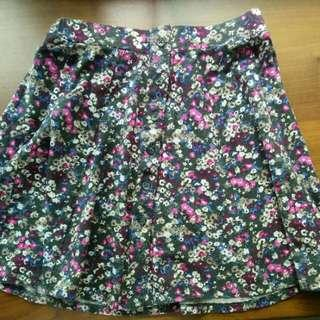 AEO floral button down skirt