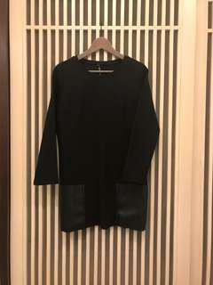黑色長版異材質拼接皮口袋上衣