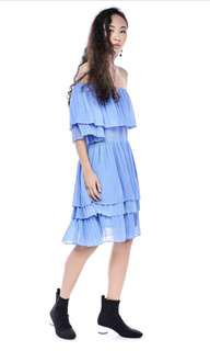 blue hanami pleated dress