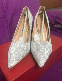 Silver Lace Glitter Wedding Dinner Heels