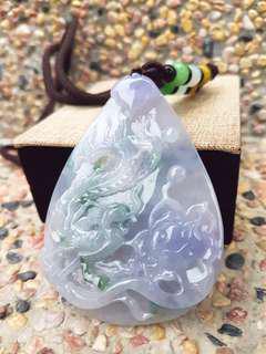 Jade Pendant天然緬甸翡翠A貨紫若蘭春帶彩(鳳凰牡丹