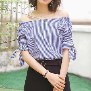 Blue & White Stripes Ribbon Tie Off Shoulder Top