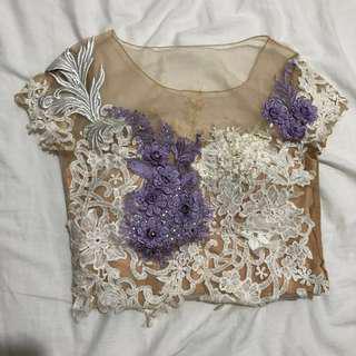 Yelena top in white lavender 3D flower and flower skirt