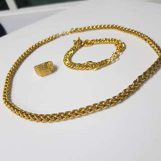 {Hot Selling} 24K Plated Gold Necklace/ Braclet / Ring (Nansha Gold)