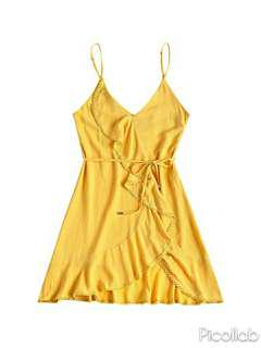 [PO] Yellow Mustard Wrap Dress with Ribbon Tie