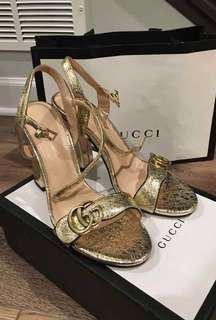 BRAND NEW Gold GG sandal heels