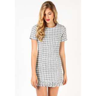 Dressabelle Tweed Fray Hem Shift Dress