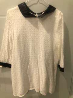 White with black collar dress