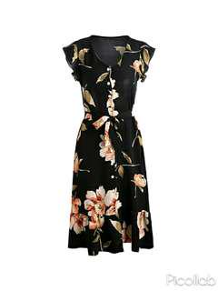 [PO] Black Floral Button Wrap Dress with Ruffled Sleeves