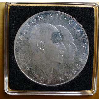 Silver Commemorative Collector Coin 25 Kroner 1970 Norway WWII 8 May 1945 Large Crown Coin