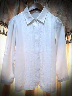 Kemeja Putih Wanita Detail Rampel Size S #Septemberceria #Sale