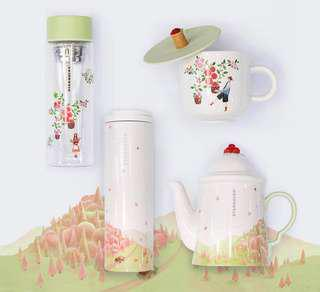 Special Starbucks Korea Autumn Coffee Cherry Farm Teapot & Mug Set