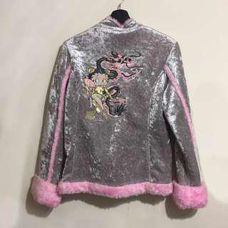 貝蒂 Bettyboop 中國風毛絨絨銀蔥外套