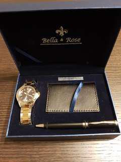 Watch, Business Card Holder & Pen Gift Set