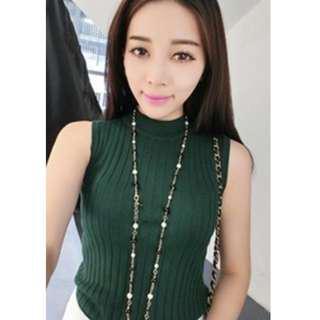 * Ready Stock * Carina Ribbed Knit Sleeveless Top - Green