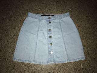 Factorie Denim light wash button up skirt