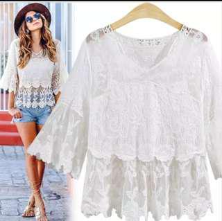 NEW! White Babydoll Lace Top