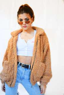 teddy fluffy fur jacket beige brown