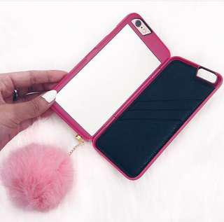 iPhone 6/6s mirror case with pompom