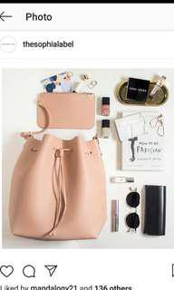 Thesophialabel reina bucket bag in blush