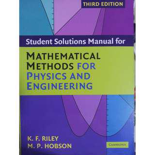 students solution manual for mathematical methods for physics and engineering
