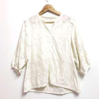 Bubble Sleeves White Blouse