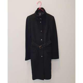 Zara Black Winter Jacket Dress with Belt