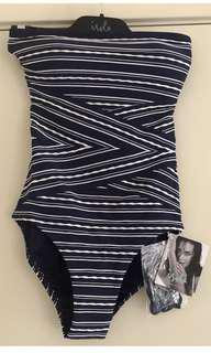 Ladies ISOLA by Megan Gale Hamptons Striped Bandeau Maillot Navy Blue Swimsuit.  Size 8. $199