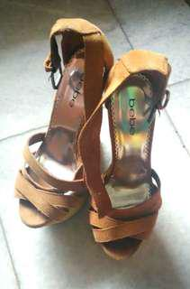 Authentic  Bebe Brown Angkle Strap Wedges