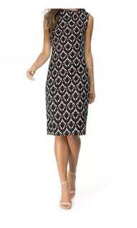 "Ladies Atmos&here Black And White Print ""Kennedy Bodycon Dress""   Size 10."