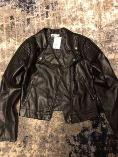 Girl H&M biker faux leather jacket size 15
