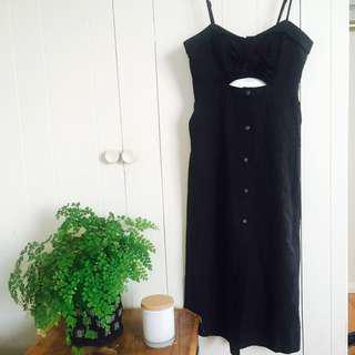 Bardot Black Midi Button Dress