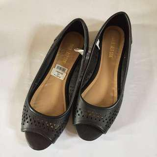 Black Open Toe Flat Shoes (Size 6 & 7.5; BRAND NEW)