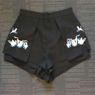 Luvalot Crane Embroidered Shorts - Black
