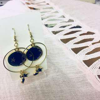 #072 Golden pendant earrings with blue sky, planet and star