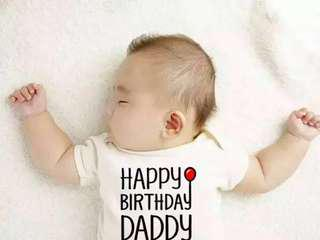 嬰兒爸媽生日服infant baby cloth for daddy and mommy birthday