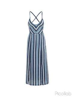 [PO] Blue and White Striped Slit Maxi Beach Dress with Tie Back Straps