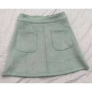 XXI Teal Suede Mini Skirt w/ Pockets