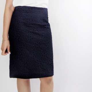 JCrew Navy Eyelet Skirt