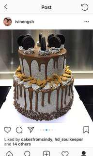 2-tiered Cookies and Cream Chocolate Drip Cake