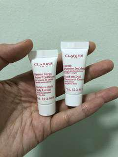 Clarins Travel Size Moisture Rich Body Lotion + Hand and Nail Treatment Cream