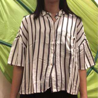 Pull N Bear Button Up Stripes ( Green & Red )