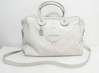 "Longchamp ""QUADRI"" Two way Leather Satchel in Off White Colour"