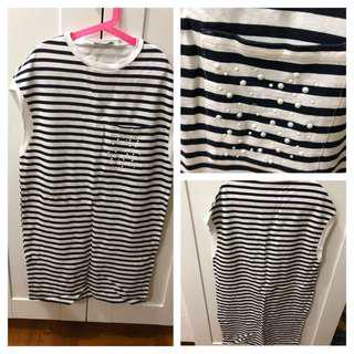 (Used)Zara Stripe Knit Dress with Pearl 橫間裙
