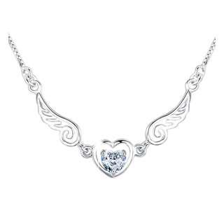 🚚 Angel Wings Heart Pendant Necklace (White)